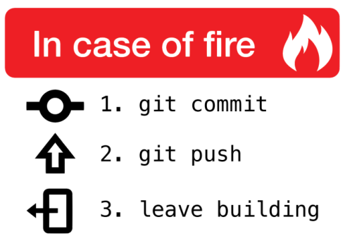 In case of fire 1 git commit 2 git push 3 leave building